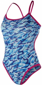 Speedo Waterflow/Fireglam Flip Reverse 1 Piece Teen Electric Pink/Turquoise/Amparo Blue