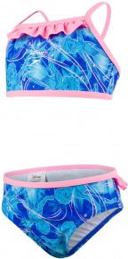 Speedo Disney Frozen Allover 2 Piece Girl Beautiful Blue/Turquoise/Pink Splash