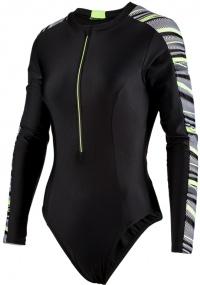 Speedo Reflect Wave Long Sleeve Swimsuit Black/Bright Zest/White