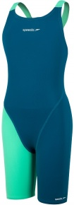 Speedo Fastskin Endurance+ Openback Kneeskin Girl Nordic Teal/Green Glow