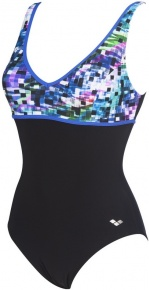 Arena Misaki Wing Back One Piece C-Cup Black/Multicolor/Bright Blue