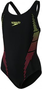 Speedo Plastisol Placement Muscleback Girl Black/Fluo Yellow/Lava Red