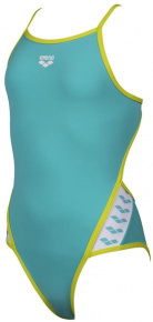 Arena Team Stripe Super Fly Back One Piece Junior Mint/Soft Green