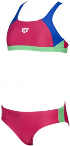 Arena Ren Two Pieces Junior Freak Rose/Neon Blue/Golf Green